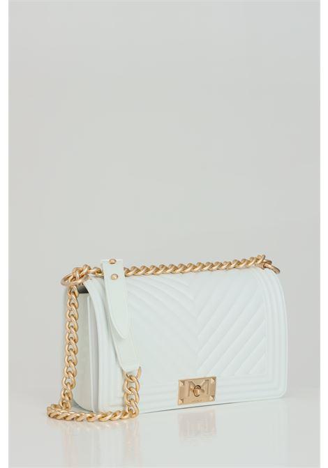 Flat M Bag with gold metal shoulder strap. MARC ELLIS | Bag | FLAT-MMILK