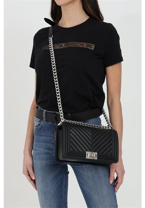 Flat M Bag with gold metal shoulder strap. MARC ELLIS | Bag | FLAT-MNERO-ARGENTO