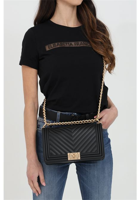Flat M Bag with gold metal shoulder strap. MARC ELLIS | Bag | FLAT-MNERO-ORO