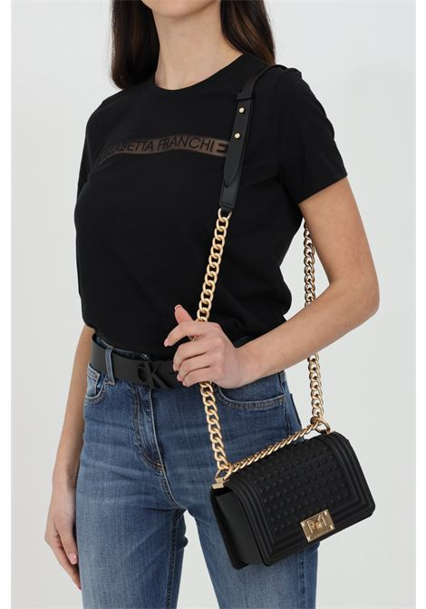 Flat S Spike bag with shoulder strap in chain. MARC ELLIS | Bag | FLAT-S-SPIKENERO-ORO