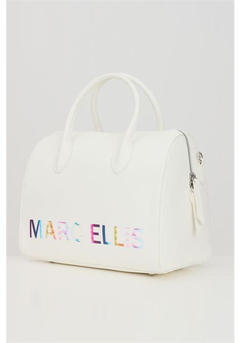 White shoulder bag with multicolor logo print. Marc ellis  MARC ELLIS | Bag | LYNETTE-MBIANCO