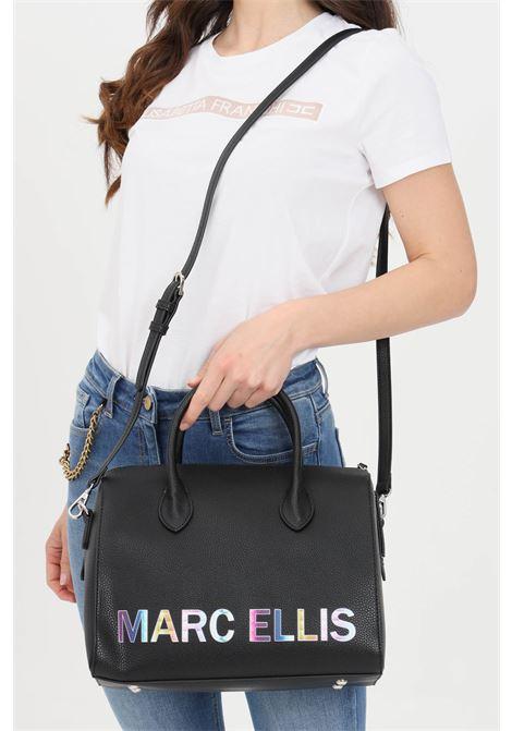 Black shoulder bag with multicolor logo print. Marc ellis  MARC ELLIS | Bag | LYNETTE-MNERO