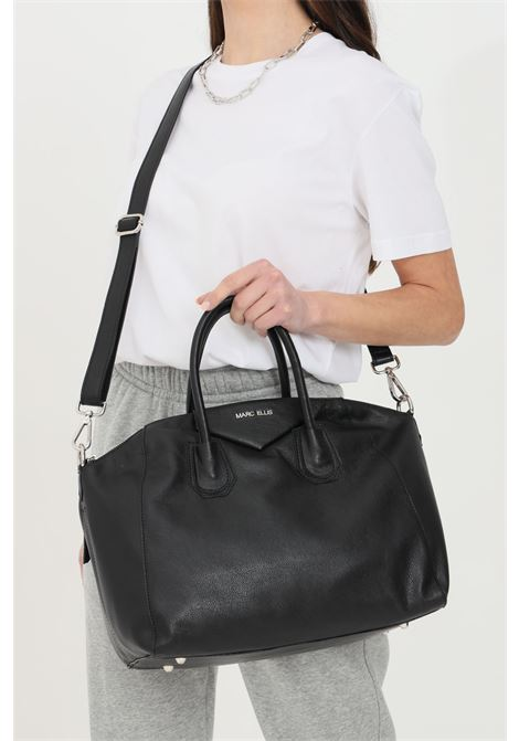 Black shopper with double handle, adjustable and removable shoulder strap. Closure with zip, inner pockets with or without zip. Marc ellis MARC ELLIS | Bag | MARGARET-M-SOFTNERO