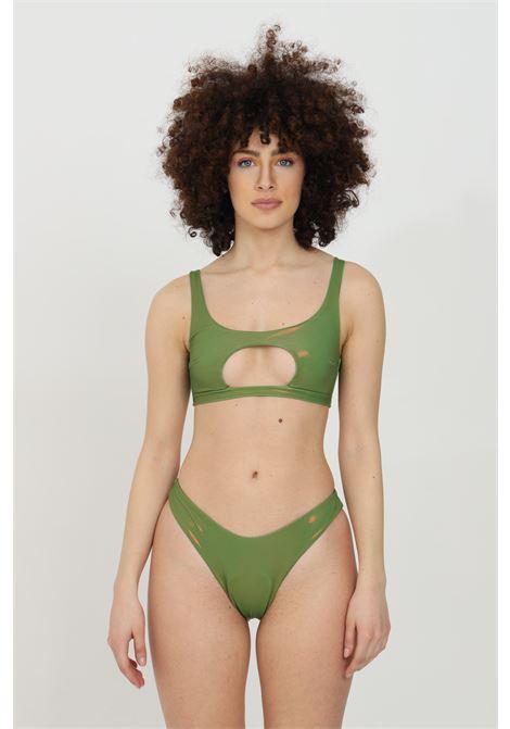 Military green bikini in solid color, laminated effect. Matinee MATINèE | Beachwear | CB2038VERDE
