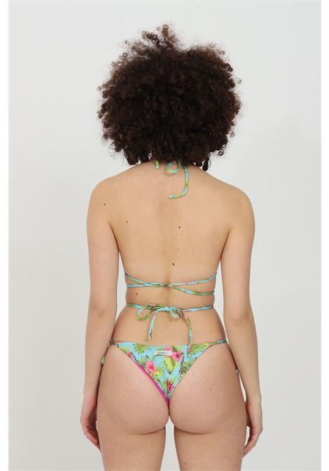 Beachwear costume donna multicolor matinee bikini completo con stampa summer flower. Modello triangolo con chiusura laterale MATINèE | Beachwear | CB2059GIRAFFE-AZZURRO