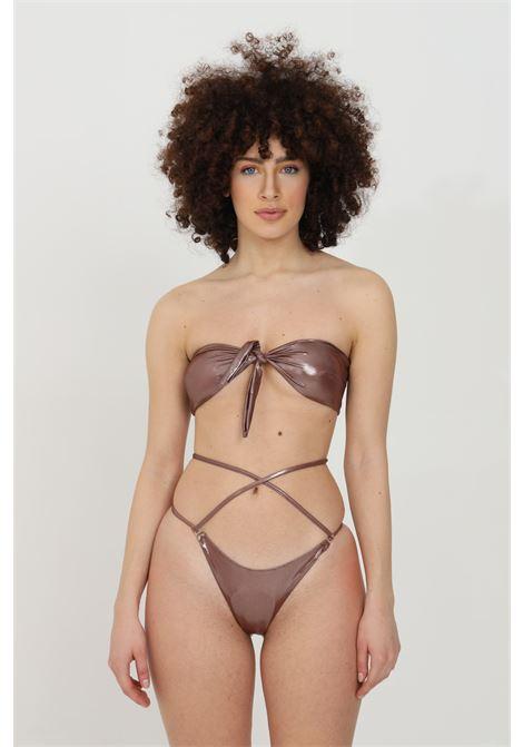 Beachwear costume donna marrone matinee bikini completo con nodo frontale e lacci in vita. Effetto spalmato e modello brasiliana MATINèE | Beachwear | CB2070MATTONE