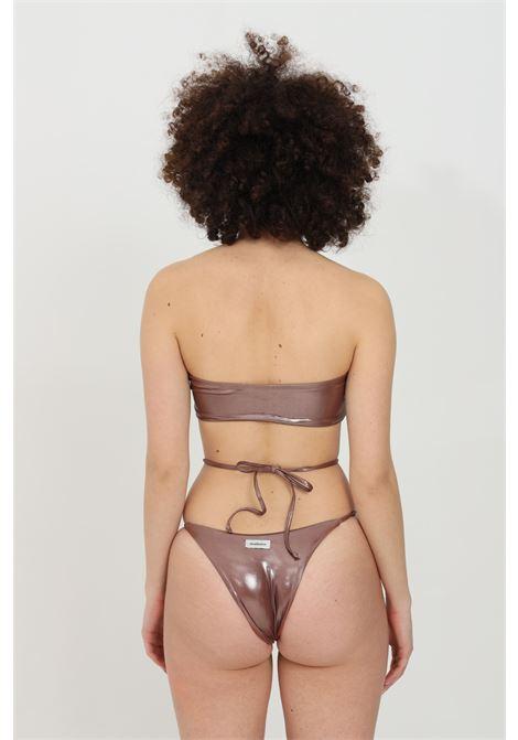 Brown bikini with front knot and laces. Coated effect, brazilian model. Matinee MATINèE | Beachwear | CB2070MATTONE