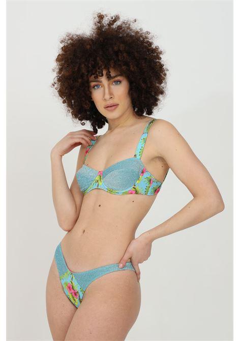 Beachwear costume donna azzurro matinee bikini completo con ferretti e tessuto in glitter. Stampa flower e chiusura con ferretti MATINèE | Beachwear | CB2073GIRAFFE-AZZURRO