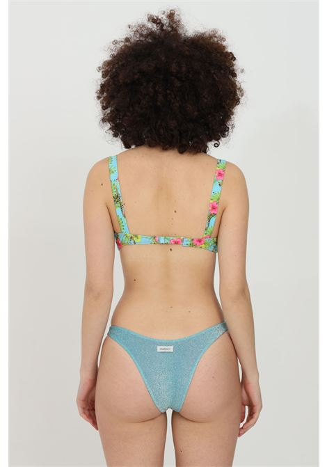 Blue bikini with underwire, glitter fabric. Flower print and closure with underwire. Matinee MATINèE | Beachwear | CB2073GIRAFFE-AZZURRO
