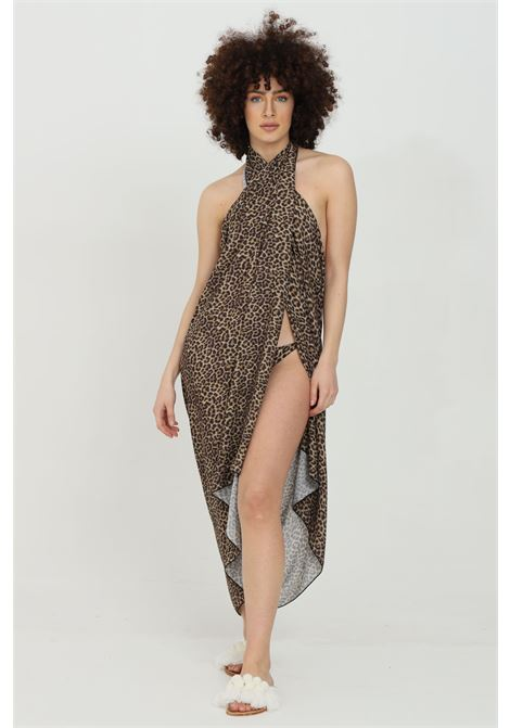 Leopard swimsuit cover with crossover neck and animal print. Side slit, over size model. Matinee MATINèE | Outwater | DB2112MACULATO