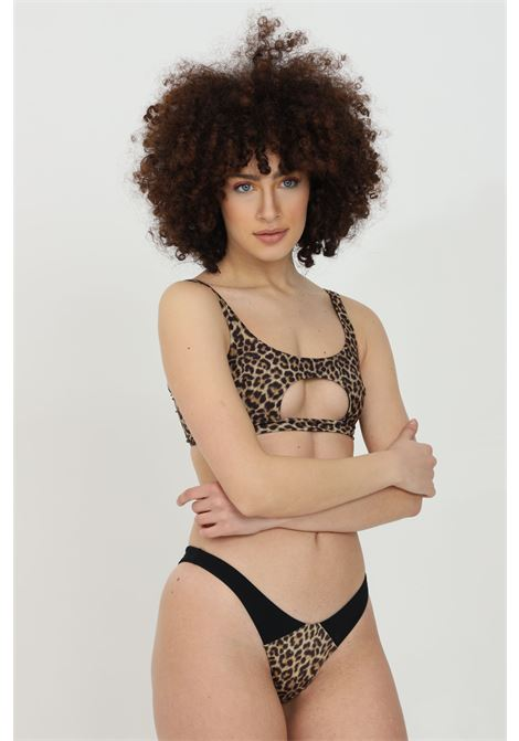 Beachwear costume donna maculato slip mare senza chiusure. Inserti a costine MATINèE | Beachwear | EM2086.
