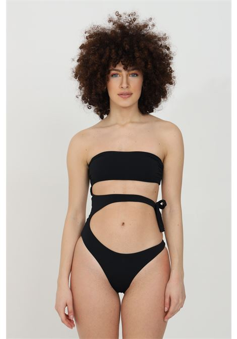 Beachwear donna nero matinee costume intero con intagli centrali. Chiusura laterale. Top a fascia e schiena scoperta MATINèE | Beachwear | EM2094NERO