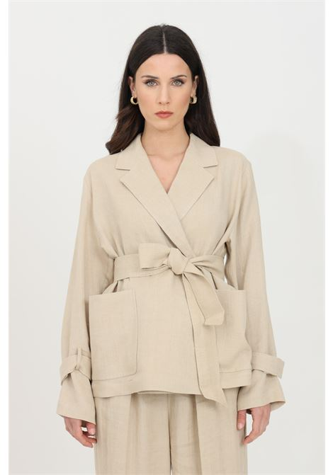 Beige jacket with waistband and spear collar. Comfortable model with long and wide sleeves. Max Mara MAX MARA | Blazer | 60410611600001