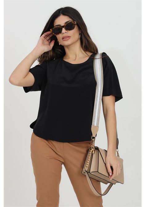 Black blouse with front pocket and short sleeves, over model. Max Mara MAX MARA | Blouse | 61110211600002