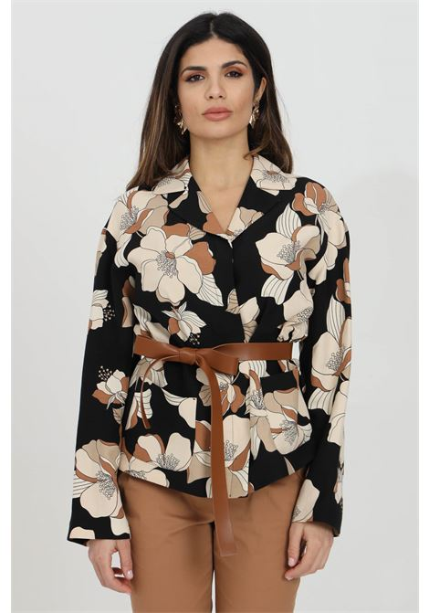 Black blouse with with flower print and faux leather belt. Long wide sleeves and spear collar. Over size model. Max Mara MAX MARA | Blouse | 61910211600002