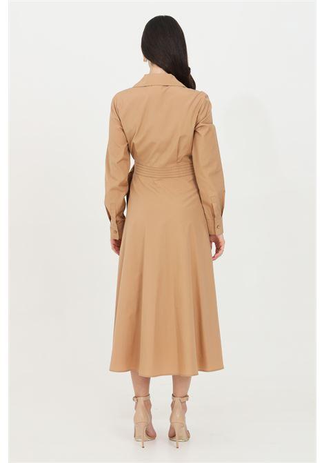Caramel dress with wide skirt and elastic waistband. Long sleeves and ribbed collar. V-neck. Max Mara MAX MARA | Dress | 62210411600035