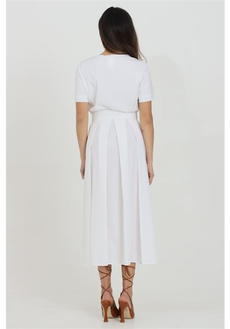 White dress with waistband and flounces at the bottom. V-neck. Short sleeves and bow at the waist. Max Mara MAX MARA | Dress | 62210511600001