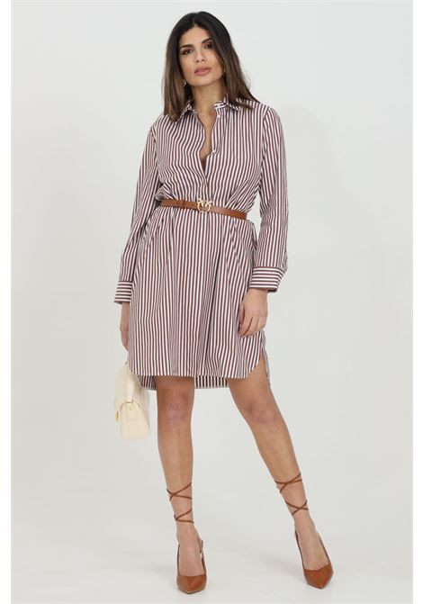 Tobacco dress with striped print. Classic collar. Front closure with hidden logo buttons. Long sleeves. Max Mara MAX MARA | Dress | 62210711600005