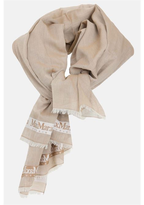 Caramel scarf, cotton stole with contrasting logo bands. Max Mara MAX MARA | Scarf | 65410111600003