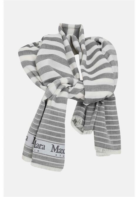 Grey scarf, cotton stole with contrasting logo bands. Max Mara MAX MARA | Scarf | 65410111600006