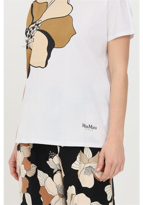 White t-shirt with vintage flower print, short sleeves. Max Mara MAX MARA | T-shirt | 69410311600002