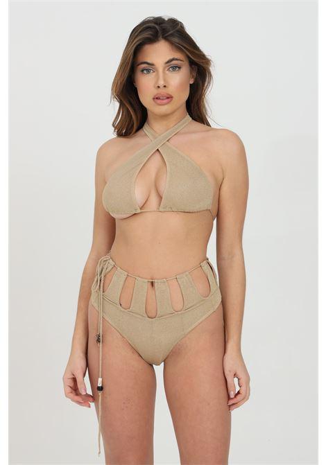 Beachwear costume donna oro me fui bikini completo con trama glitter oro. Vita alta con intagli. Top con incrocio. Chiusura laterale ME FUI | Beachwear | M21-0202BGBG