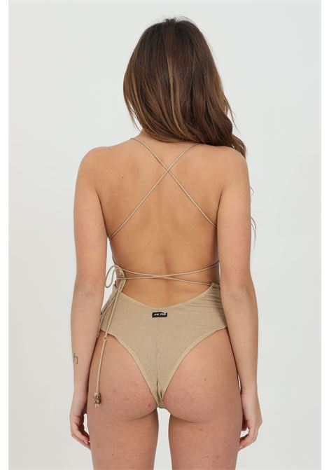 Beachwear donna oro me fui costume intero con trama glitter. Tagli asimmetrici ME FUI | Beachwear | M21-0203BGBG