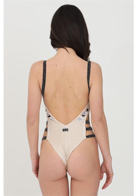 Beachwear donna beige me fui costume intero con corallini su spalline e fianchi, scollo profondo a V ME FUI | Beachwear | M21-0254X1X1