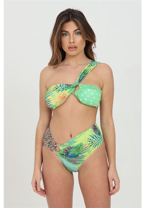 Beachwear costume donna verde multicolor me fui bikini completo stampato monospalla. Incroci con anello e mix di stampe ME FUI | Beachwear | M21-0443X2X2
