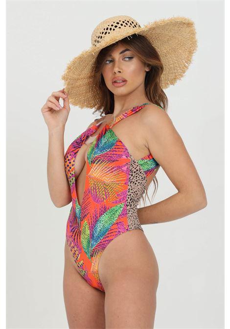 Beachwear donna multicolor me fui costume intero con taglio centrale. Incrocio con anello ME FUI | Beachwear | M21-0445X1X1