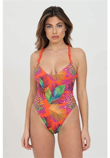 Beachwear donna multicolor me fui costume intero con stampa tropical. Arriccio alle bretelle ME FUI | Beachwear | M21-0484X1X1