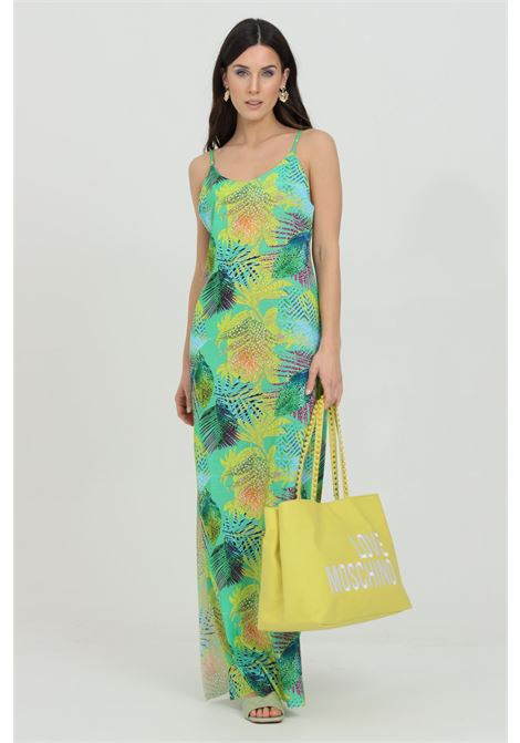 Green swimsuit cover with allover print. Side slit and open back. Me fui ME FUI | Outwater | M21-1641U.