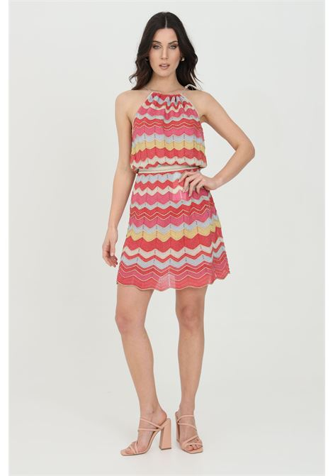 Multicolor dress with square neckline, tie closure on the back, sleeveless, zigzag print, flared design and metallic effect. Missoni MISSONI | Dress | 2DG00626-2K009EL401S