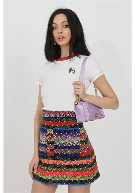 Multicolor skirt with geometric texture and front pocket. Elastic waist. High waist, comfortable model. Missoni MISSONI | Skirt | 2DH00193-2K008ESM48L