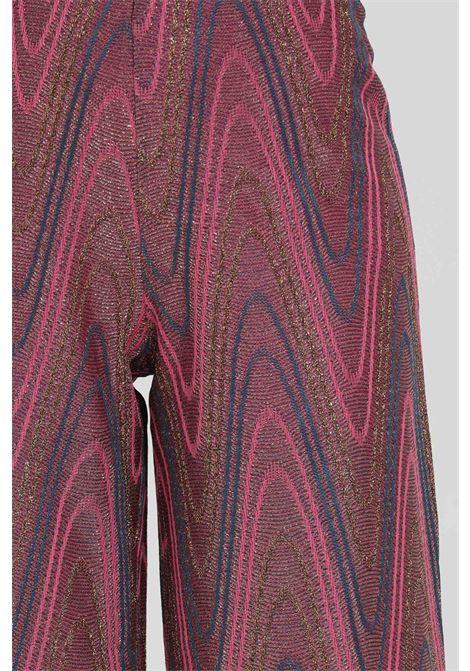 Purple trousers with high waist. Wide bottom with geometric print. Missoni MISSONI | Pants | 2DI00266-2J0051L302N