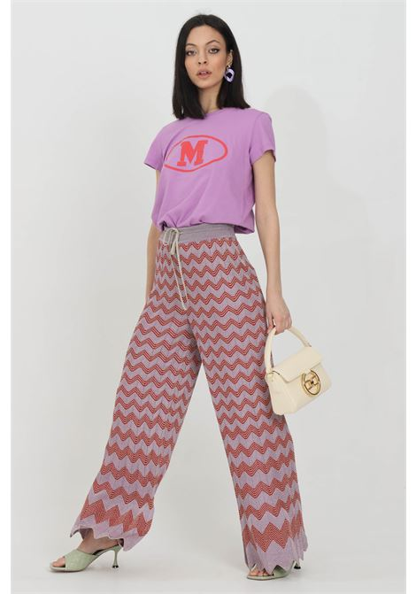 Multicolor trousers, palace model with cuts on the bottom and elastic waistband. Weft in lurex. Increasing geometric print. Missoni MISSONI | Pants | 2DI00283-2K0094L501G