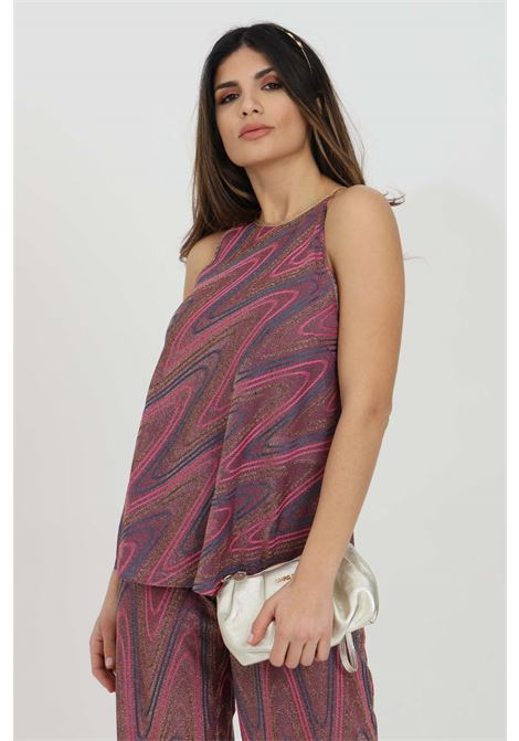 Blusa donna viola missoni in maglia con trama glitter e stampa geometrica MISSONI | Bluse | 2DK00074-2J0051L302N