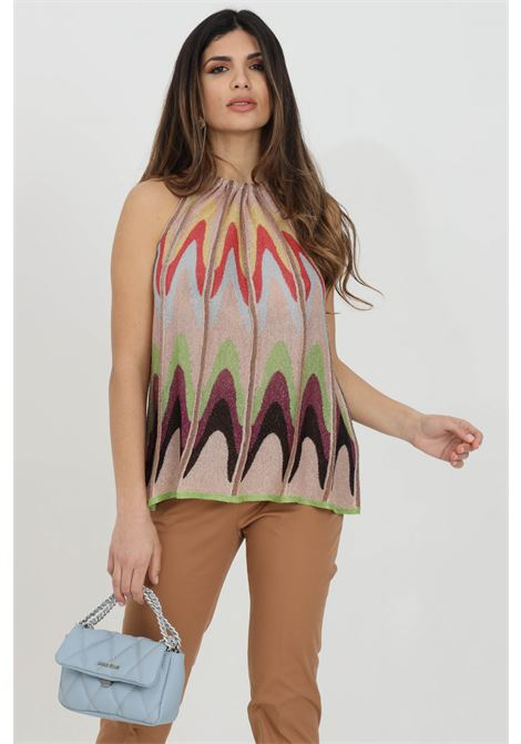 Multicolor blouse with crew-neck and wide bottom. Geometric print, over size model. Missoni MISSONI | Blouse | 2DK00097-2K009DL302V