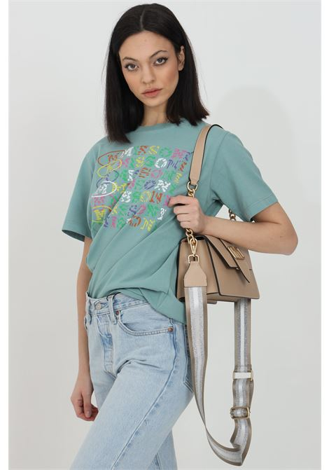 Green t-shirt with multicolor front print, short sleeves. Comfortable model. Missoni MISSONI | T-shirt | 2DL00084-2J005D65106