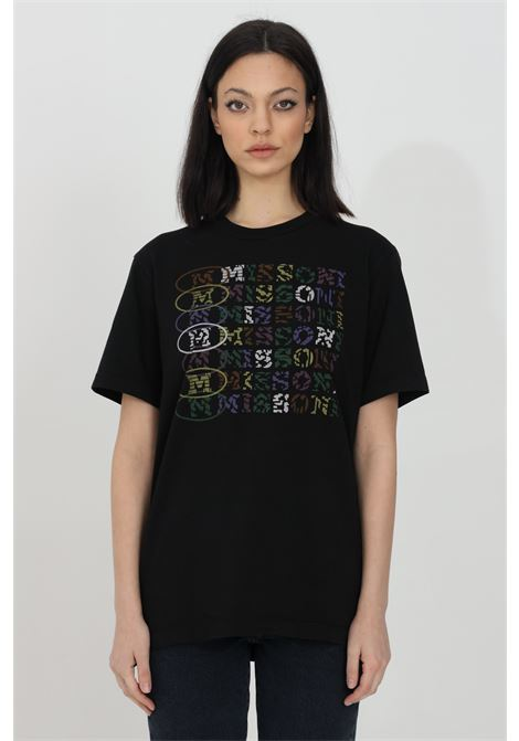 Black t-shirt with multicolor front print, short sleeves. Comfortable model. Missoni MISSONI | T-shirt | 2DL00084-2J005D93911