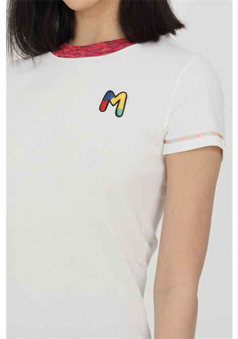 White t-shirt with short sleeves and embroidered logo on the front. Multicolor embroidered hems. Slim fit model. Missoni MISSONI | T-shirt | 2DL00088-2J002U14300