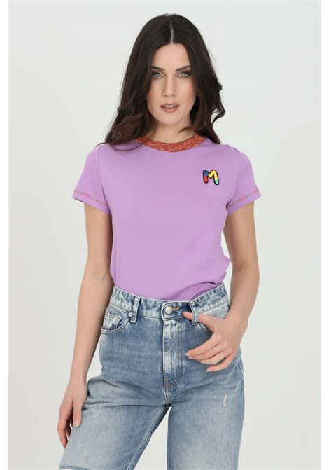 Purple t-shirt with short sleeves and embroidered logo on the front. Multicolor embroidered hems. Slim fit model. Missoni MISSONI | T-shirt | 2DL00088-2J002U63520