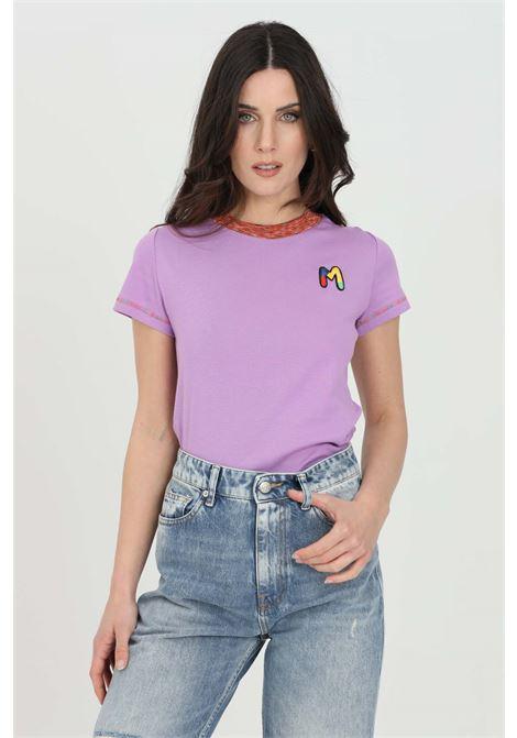 T-shirt donna viola missoni a manica corta con logo frontale ricamato. Orli multicolor ricamati. Modello slim MISSONI | T-shirt | 2DL00088-2J002U63520