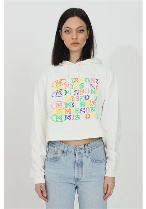 White hoodie with multicolor print on the front. Elastic hem and cuffs with ribs. Short cut. Missoni MISSONI | Sweatshirt | 2DW00003-2J005I14300
