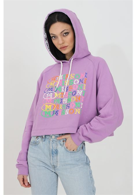 Lilac hoodie with multicolor print on the front. Elastic hem and cuffs with ribs. Short cut. Missoni MISSONI | Sweatshirt | 2DW00003-2J005I63520