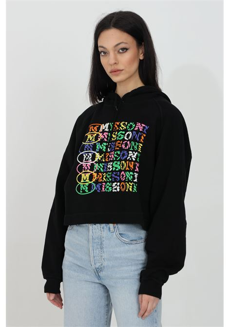 Black hoodie with multicolor print on the front. Elastic hem and cuffs with ribs. Short cut. Missoni MISSONI | Sweatshirt | 2DW00003-2J005I93911
