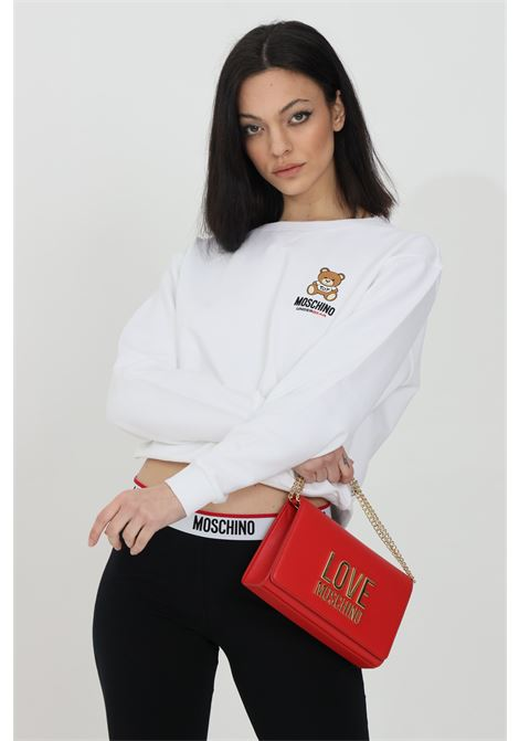 White sweatshirt with bear logo on the front, ribbed bottom and cuffs. Moschino MOSCHINO | Sweatshirt | A171390200001