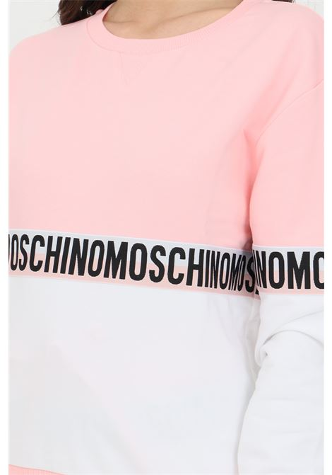Pink-white sweatshirt with logo band, crew neck. Ribbed hems and elastic bottom. Moschino MOSCHINO | Sweatshirt | A171690201181
