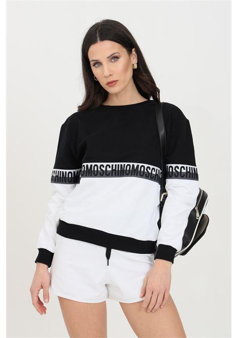 Black-white sweatshirt with logo band, crew neck. Ribbed hems and elastic bottom. Moschino MOSCHINO | Sweatshirt | A171690201555
