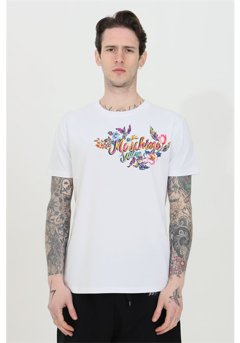 T-shirt girocollo con stampa effetto tempera sul fronte MOSCHINO | T-shirt | A190423160001